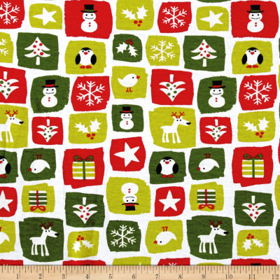 Fabric Merchants Cotton Spandex Jersey Knit Holiday Patchwork Multi