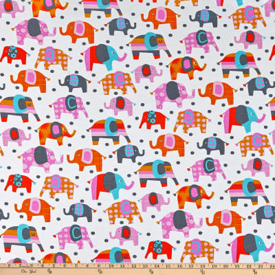 Fabric Merchants Cotton Jersey Knit Elephants Multi