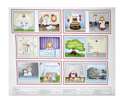 "Promises Mormon Faith Based Baptism 36"" Book Panel White/Multi"