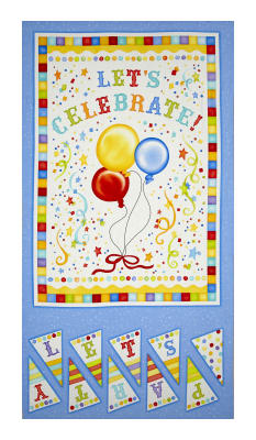 "Let's Celebrate 23.5"" Celebration Panel Blue/White"