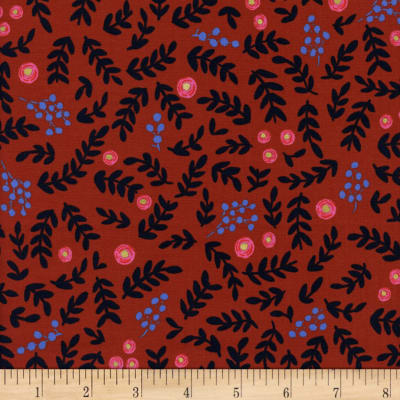 Cotton + Steel Rifle Paper Co. Wonderland Rose Garden Crimson Metallic