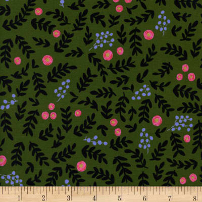 Cotton + Steel Rifle Paper Co. Wonderland Rose Garden Metallic Moss
