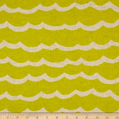 Cotton + Steel Kujira & Star Canvas Waves Citron
