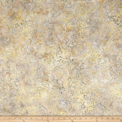 Indonesian Batik Natural Small Scroll Dusty Light Grey
