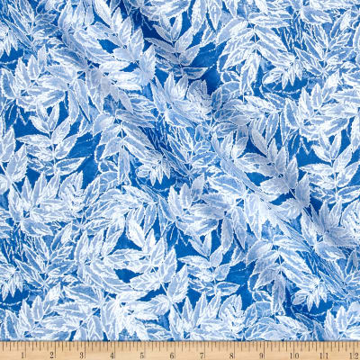 Timeless Treasures Ice Glitter Frosted Leaves Peri