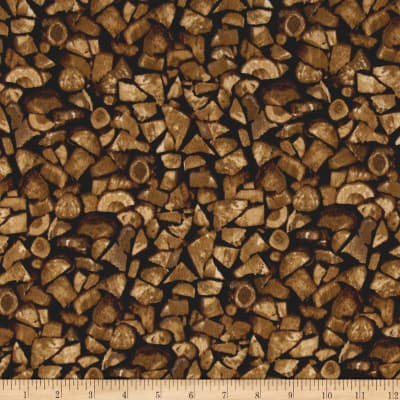 Timeless Treasures Cabin Flannel Firewood Wood