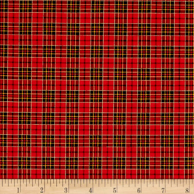 Timeless Treasures Holiday Plaids Metallic Mini Plaid Red