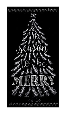 "Timeless Treasures Be Merry 23"" Chalkboard Tree Panel Piano"