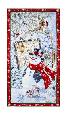 "Timeless Treasures Jingle Bells 23.5"" Snowman Panel Snow"