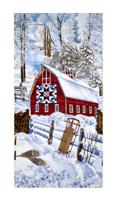 "Timeless Treasures Country Holiday Winter Barn Scenic Snow 23"" Panel"