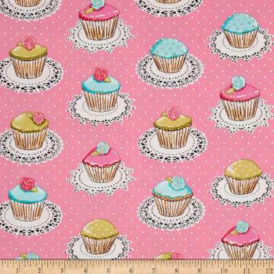 Michael Miller Flannel Quaint Cupcakes Glitter Metallic Pink