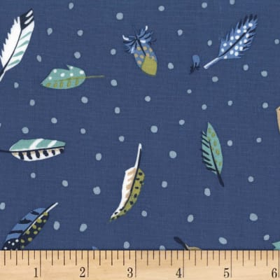 Michael Miller Sandpipers Feather's Fly Denim