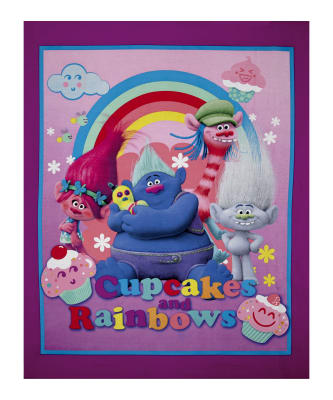 "Dreamworks Trolls Cupcakes & Rainbows Character 36"" Panel Pink"