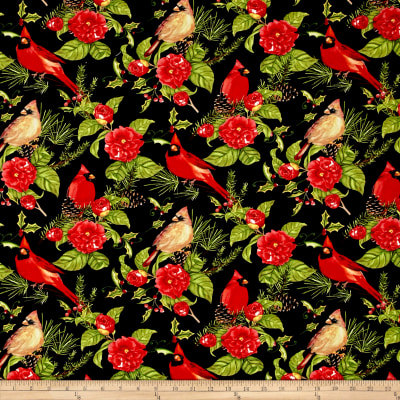 Christmas in the Wildwood Flowers and Cardinals Black