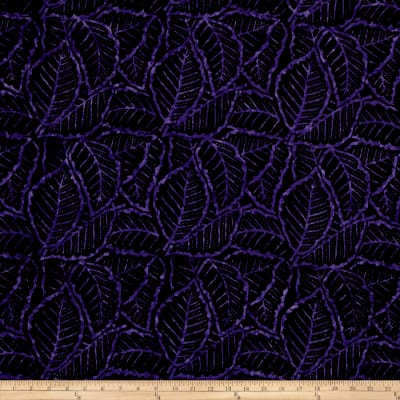 Wilmington Batiks Packed Leaves Black/Purple