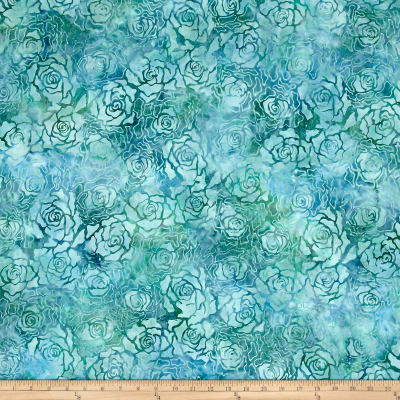 Wilmington Batiks Roses Teal