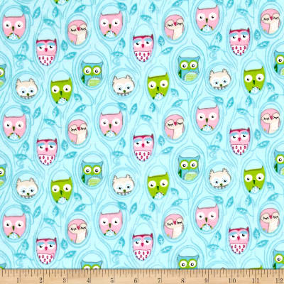 Comfy Flannel Owls in Trees Blue
