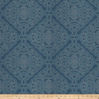 Fabricut Crowe Damask Satin Jacquard Nautical