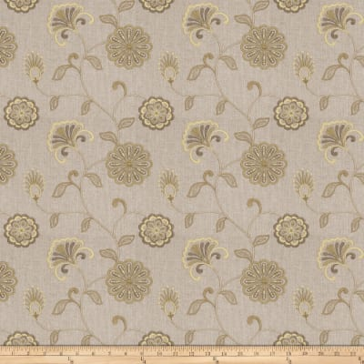 Fabricut Dory Floral Embroidered Pistachio Linen