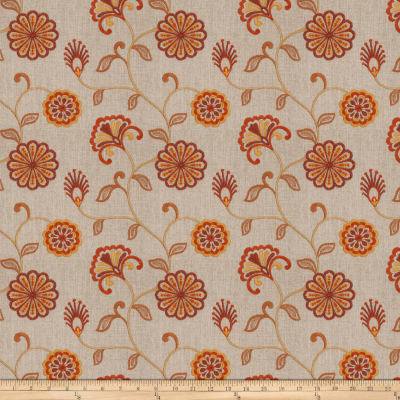 Fabricut Dory Floral Embroidered Sienna Linen