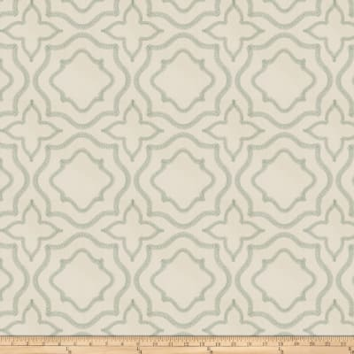 Fabricut Moondust Embroidered Aqua Poplin