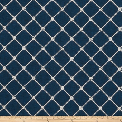 Fabricut Ticket Diamond Embroidered Navy
