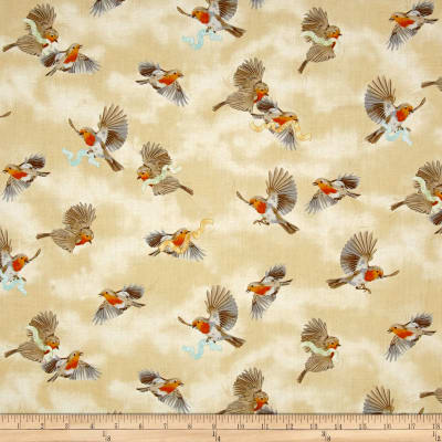 QT Fabrics Serenity Prayer Bird Toss Dark Cream