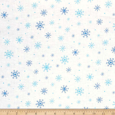 QT Fabrics Just Chillin' Snowflakes White