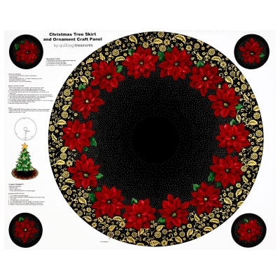 "Poinsettia Grandeur Metallic Tree Skirt 35.5"" Panel Black"