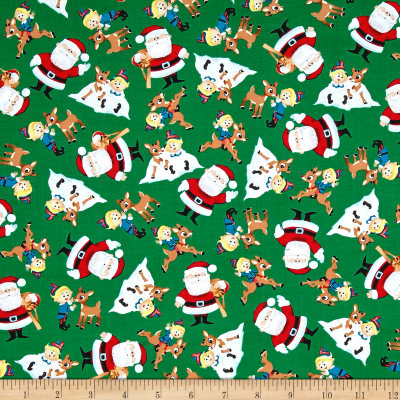 QT Fabrics Fun With Rudolph Character Toss Green
