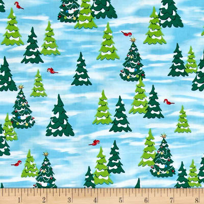 QT Fabrics Fun With Rudolph Pine Trees Light Blue