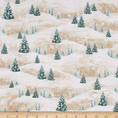 Woodland Friends Pine Tree Scenic Light Tan