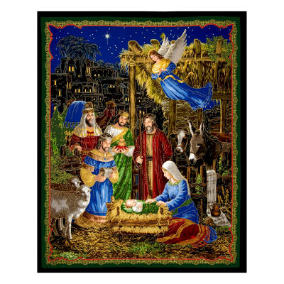 "In Bethlehem Metallic Nativity 35.5"" Panel Multi"