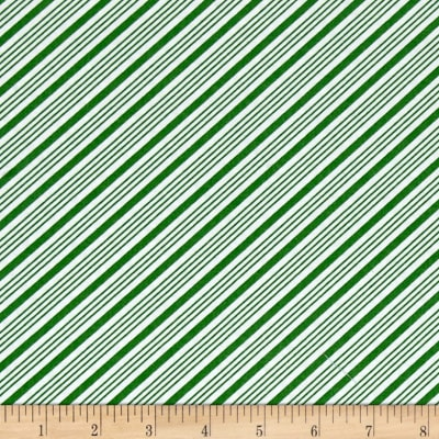 QT Fabrics Frosty the Snowman Everyone's Fav Snowman Diagonal Stripe Green