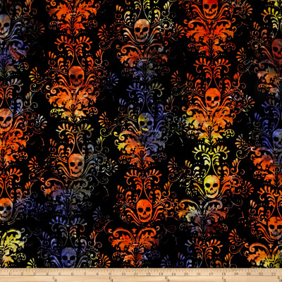 Timeless Treasures Tonga Batik Haunted Skull Damask Haunted
