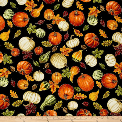 Timeless Treasures Autumn Bounty Metallic Tossed Gourds And Leaves Black