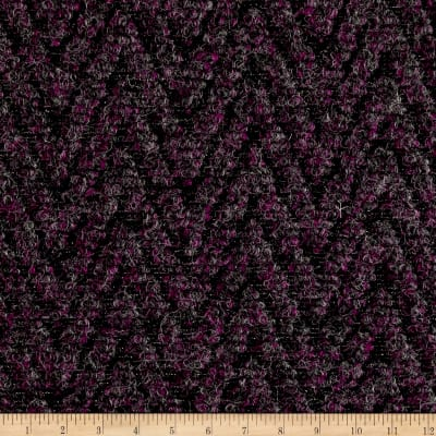 Italian Designer Textured Boiled Wool Purple/Grey/Gold