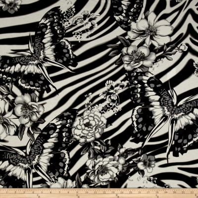 Italian Designer Viscose Jersey Knit Large Butterfly Floral Black/White