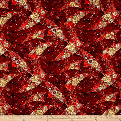 Zen Garden Metallic Floral Flags Garnet/Gold
