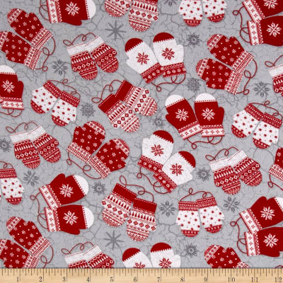Frosty Folks Flannel Mittens Gray