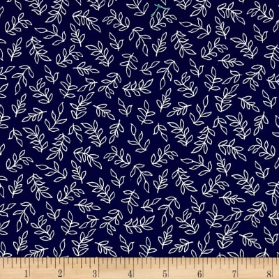 Sweet Florals Scribble Leaves Navy