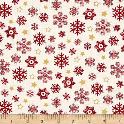 Sparkle Metallic Snow Flakes Red