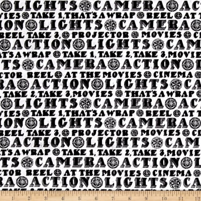 Lights, Camera, Action Words White