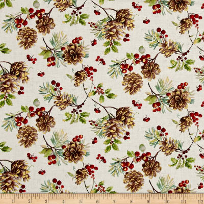 Noel Metallic Pinecones Linen White
