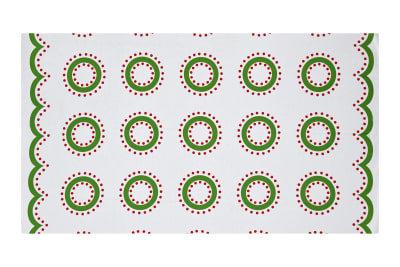 "Green and Red Wreaths 36"" Panel Bright"