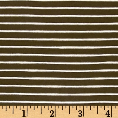 "Rayon Jersey Knit Stripe 1/4"" x 1/8"" Olive/Cream"