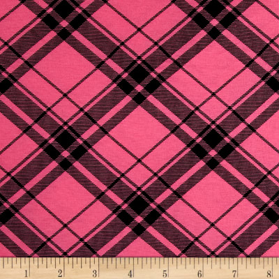 Printed Jersey Knit Black Plaid on Hot Pink