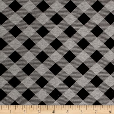 Printed Jersey Knit Black Checker Plaid on Dark Gray