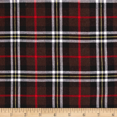 Yarn Dyed Flannel Plaid Brown/Red/White/Black