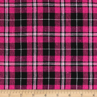 Yarn Dyed Flannel Plaid Black/Fuchsia